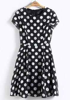 Black Polka Dot Zipper Short Sleeve Chiffon Dress