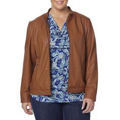 Simply Emma Womens Plus Jacket Moto Faux Leather Solid Cognac size 1X 2X NEW   29.99 https://www.ebay.com/itm/263273079398