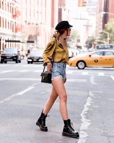 Never letting go of summer. Shop @luanna's HI Rise Cut-Offs in our bio. #LiveAGOLDE #drmartensboots