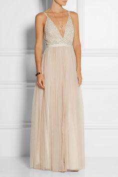 NEEDLE & THREAD Embellished chiffon and tulle maxi dress