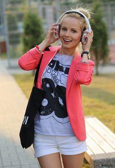 Pink Boyfriend Ponte Rolled Sleeves Blazer -SheIn(Sheinside)