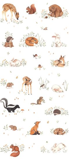 Nina Stajner - Nina Stajner // animal figures The Effective Pictures We Offer You About cartoon eyes A quality pi - Woodland Creatures, Woodland Animals, Watercolor Animals, Watercolor Paintings, Watercolour, Baby Animals, Cute Animals, Cute Illustration, Cute Drawings