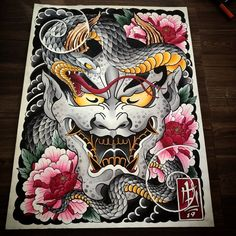 Trong hình ảnh có thể có: 1 người Japanese Tattoo Art, Japanese Tattoo Designs, Japanese Painting, Japanese Art, Foo Dog Tattoo, Hannya Tattoo, Back Piece Tattoo, Fu Dog, Phoenix Art