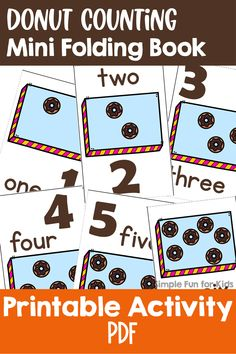 Have fun learning to count with this cute printable Donut Counting Mini Folding Book, perfect for preschoolers and kindergarteners! Learn To Count, Fun Learning, Counting, Donuts, Have Fun, Kindergarten, Preschool, Printables, Mini