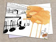 """Postcard """"Bar"""" Postkarte """"Bar"""" von Granatapfel Onlineshop mit illustriertem. auf DaWanda.com"""