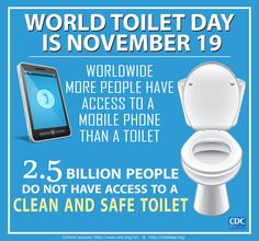 Today is World Toilet Day. Worldwide, more people have access to a mobile phone than a toilet. 2.5 billion people do not have access to a clean and safe toilet.