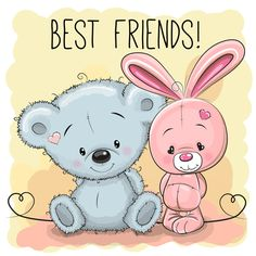 Illustration about Cute cartoon Bear and rabbit best friends. Illustration of pencil, pets, drawing - 81662751 Cute Cartoon Animals, Bear Cartoon, Girl Cartoon, Cartoon Rabbit, Cute Images, Cute Pictures, 365 Kawaii, Cartoon Mignon, Art Mignon