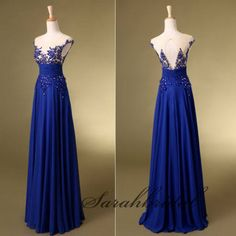 2014 Royal Blue Applique See Through Chiffon Long Prom Party Dress