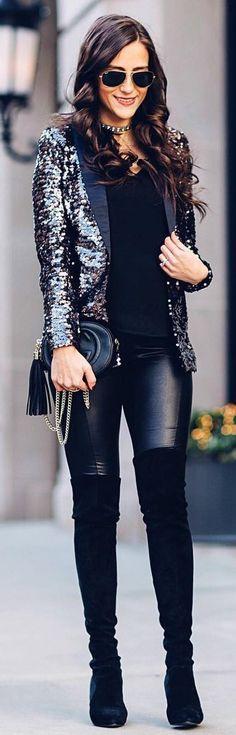 #winter #fashion /  Black Sequins Blazer / Black Tank Top / Black Leather Leggings / Black OTK Boots