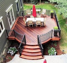 A beautiful fire feature is one of the most requested amenities when we are designing an outdoor living space. Deck Builders, Deck Colors, Backyard Patio Designs, Small Backyard Decks, Patio Decks, Diy Deck, Backyard Makeover, Decks And Porches, Building A Deck