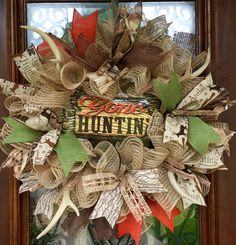 Gone hunting father's day wreath with deer antler accents  www.facebook.com/southernsass