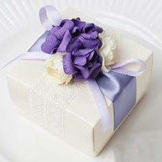 50 pcs Ivory Wedding Candy Favor Box with Purple by sweetywedding, $109.50