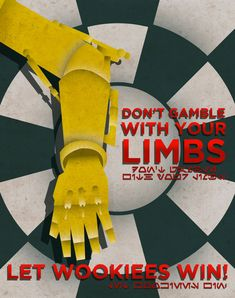Don't Gamble With Your Limbs ... | By: Justonescarf via Etsy | #starwars #starwarsfanart #c3p0 #wookies