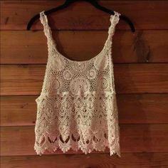 Cream Crochet Tank Delicate and feminine tank top-it was suppose to be a small (there are no tags) but it fits more like a medium. In very good condition (never got around to wearing it). No trades, and price is firm. Bundle friendly✔️ Tops Tank Tops