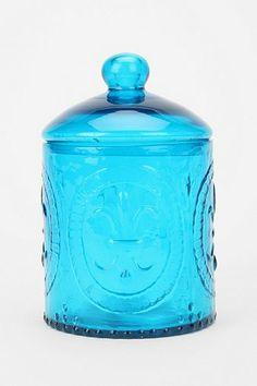 fluer de lis glass jar