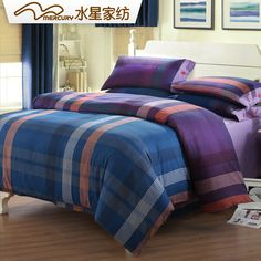 Free Shipping!Mercury Home Textile 100% Cotton Yarn-Dyed Flannel Bedding Set With 4pcs Duvet Cover Bed Sheet ELLIS
