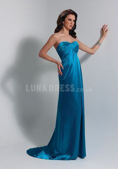 Attractive Elastic Silk Like Satin Empire Long Sweep/ Brush Train Prom Party Dresses