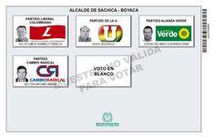 Tarjetón de elección para Alcalde de Sáchica