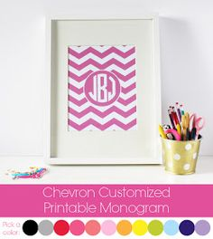 Two It Yourself: DIY baby gift: Monogrammed Chevron peg frame