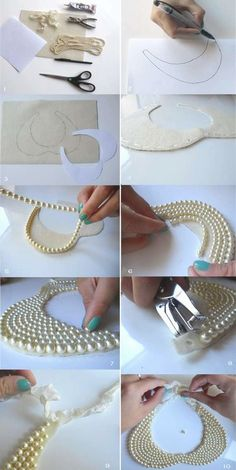 DIY collar necklace loft in soho: Peter Pan collar + DIY Pearl Collar Necklace loft in soho: Peter Pan collar + DIY Pearl Collar Necklace What you'll need: 1 piece of x 11 creme piece of felt 2 yards of strung pearls. glue gun or adhesive 1 ft ribbon scis Diy Necklace, Collar Necklace, Fashion Necklace, Necklace Ideas, Necklace Tutorial, Fashion Jewelry, Beaded Necklaces, Necklace Holder, Nail Fashion