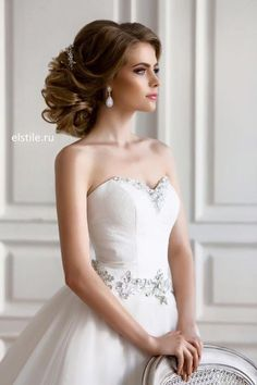 200 Beautiful Long Hair Styles That Are Great For Weddings And Proms Wedding Hairstyles For Long Hair, Bride Hairstyles, Hairstyle Wedding, Hairstyles 2016, Popular Hairstyles, Short Hair, Strapless Dress Hairstyles, Strapless Gown, Make Up Braut