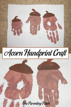 How to make an autumn acorn craft using handprints and nontoxic paint.
