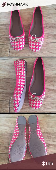 ***NWOT*** Tory Burch woven flats These amazing flats by Tory Burch are made of woven material and vibrant pink patent leather. Never worn and in mint condition! Don't miss out on these beauties! Tory Burch Shoes Flats & Loafers
