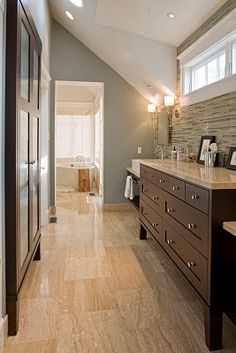 Bathroom: Benjamin Moore Raindance, love the stone wall and the floor