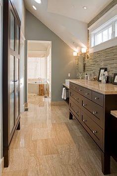 Bathroom: Benjamin Moore Raindance, love the stone wall and the floor