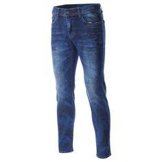 FLATSEVEN Mens Designer 2 Tone Washed Indigo Blue Denim Jeans Pants (DN19206)