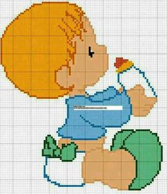 A redhead baby boy cross stitch Cross Stitch For Kids, Cross Stitch Baby, Cross Stitch Charts, Cross Stitch Designs, Cross Stitch Patterns, Cross Stitching, Cross Stitch Embroidery, Embroidery Patterns, Minecraft Pattern