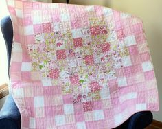 Love Baby Girl Quilt - Pink Pixelated Baby Quilt
