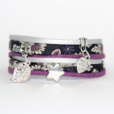 Bracelet liberty deux tours - tissu japonais fleurs - violet pourpre argenté - femme