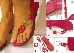 Check out these DIY flip flop projects with beads and embellish your old sandals in a day. Flip flops come in a variety of colors and can match any outfit. Flip Flops Diy, Flip Flop Craft, Crochet Flip Flops, Simple Sandals, Cute Sandals, Sexy Sandals, Tongs Crochet, Flipflops, Shoe Crafts