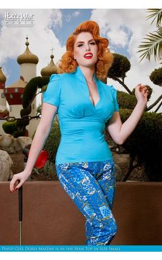 Laura Byrnes- Sean Top in Bright Blue | Pinup Girl Clothing $56