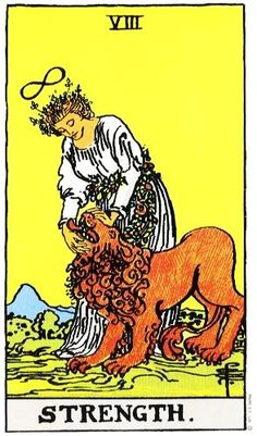 one of my favorite tarot cards. this card has the theme of feminine strength can be more powerful than brute force
