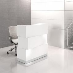 Zen Modern Reception Desk White  Serving a sophisticated audience, the Zen Reception Desk with infinite functions really stands out and provides amazing frontal shading effects. The Zen with an illuminated, asymmetrically body is made of three elegant rectangular HPL blocks.
