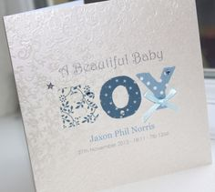 PERSONALISED LUXURY Handmade New Beautiful Baby Boy Card - Fabric Print Letters