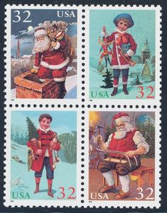 1995_09_30 $.32  This block of four contemporary Christmas stamps depict Santa Claus entering a chimney, a child holding a jumping jack, a child holding a Christmas tree, and Santa Claus working on a sled.