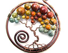 Red Creek Jasper Tree of Life Pendant Brown Wire by CarrieEastwood, $40.00 - love the colors