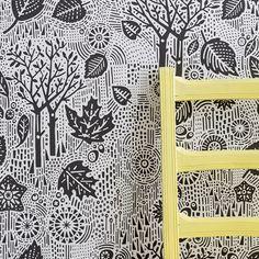 Autumn Wallpaper in Charcoal - 10m x 52cm roll