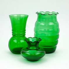 Emerald Green Glass Vases, 3 Anchor Hocking Instant Collection.  Vintage Home Decor, St Patrick's Day Decor or Gift by LiliesLegacies on Etsy