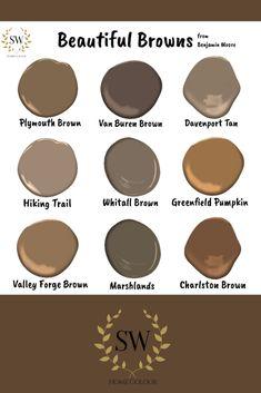 Great browns from Benjamin Moore. Get inspired Benjamin Moore Brown, Benjamin Moore Exterior Paint, Brown Paint Colors, Grey Paint, Wood Colors, Paint Color Palettes, Paint Color Schemes, House Paint Exterior, Exterior House Colors