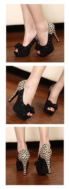 Fancy Black Suede Bowknot Leopard Stiletto High Heel Platform Pumps ID 00043335 - Pumps : Paccony.com