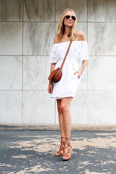fashion-jackson-zara-tan-lace-up-heels-banana-republic-white-lace-off-the-shoulder-dress-chloe-tan-marcie-crossbody