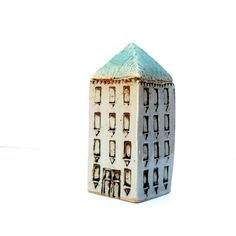 Ceramic House With A Turquoise Roof Ceramic by BlueMagpieDesign, $76.00