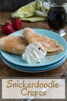 Too intimidated to make crepes at home? This Snickerdoodle Crepes Recipe is truly quick, easy and fun! The classic cinnamon sugar flavors of the beloved (and fun to say!) Snickerdoodle cookie combines with delicate, delectable crepes for a delic Mini Desserts, Easy Desserts, Dessert Recipes, Budget Desserts, Plated Desserts, Easy Crepe Recipe, Crepe Recipes, Oreo Dessert, Crackers