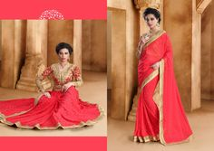 http://www.thatsend.com/shopping/lp/fvp/TESG239400/i/TE311942/iu/red-georgette-traditional-saree  Red Georgette Traditional Saree Apparel Pattern Plain. Work Resham, Border Lace, Patch Work, Zari. Blouse Piece Yes. Occasion Festive, Diwali. Top Color Red.