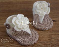 Crochet baby sandalsbaby girl booties shoes by EditaMHANDMADE