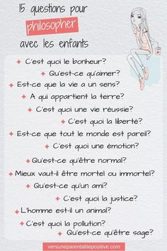 15 questions to philosophize with children - towards positive parenting, Education Education Positive, Kids Education, Kids And Parenting, Parenting Hacks, French Expressions, Learn French, Montessori, Activities For Kids, Positivity